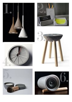 Concrete Homewares 1. Aplomb Pendant Lights by Foscarini 2. Concrete Office Series by FMC Design 3. Materiality Stool by Panoramica 4. 4th Dimension Concrete Clock by Box Car Orange 5. Concrete Shaving Kit by Mjolk 6. Jack Speaker by Anaesthetic Design