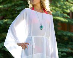 VENTE - courte drapée pure plage couvrez-vous - caftan - maillot de bain dissimulation - blanc - robe courte - Kimono