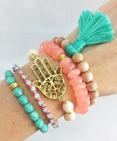 Boho Beachy Bracelet Stack in Mint and Coral, #armcandy, #boho, #tassel, #bracelets, #stacked