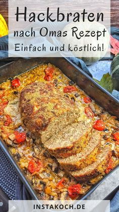 Ein saftiger Hackbraten aus dem Backofen nach Omas Rezept is. - ~ Food - Hauptspeisen & herzhafte Gerichte ~A juicy meatloaf from the oven according to Grandma's recipe is a great minced meat classic of German cuisine and totally easy to prepar Meatloaf Recipes, Meat Recipes, Healthy Recipes, Cooker Recipes, Easy Family Meals, Easy Meals, Classic Meatloaf Recipe, Breakfast Recipes, Dinner Recipes