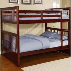 Harriet Bee Vicky Full Over Full Bunk Bed with Trundle Finish: Espresso Full Size Bunk Beds, Bunk Bed With Trundle, Twin Bunk Beds, Kids Bunk Beds, Full Beds, Twin Futon, Loft Beds For Teens, Wood Bunk Beds, Headboard And Footboard
