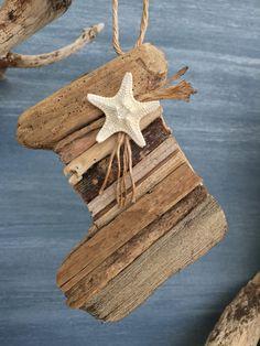 Driftwood Christmas Stocking Coastal Ornament by BeachwoodDreams