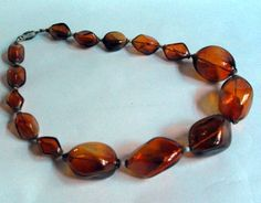 Vintage large brown glass bead necklace #10244