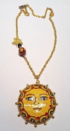 COLLANA CIONDOLO SOLE  IN CERAMICA DI CALTAGIRONE CON TRINACRIA | Orologi e gioielli, Bigiotteria, Collane e pendagli | eBay! Ceramic Jewelry, Wooden Jewelry, Gold Necklace, Pendant Necklace, Wearable Art, Clay, Ceramics, Jewels, Beads