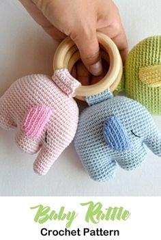 Baby Rattle Crochet Patterns – Cute Gifts - A More Crafty Life . - Baby Rattle Crochet Patterns – Cute Gifts – A More Crafty Life … Baby Rattle Crochet Patterns – Cute Gifts – A More Crafty Life Crochet Baby Toys, Crochet Toys Patterns, Crochet Gifts, Cute Crochet, Stuffed Toys Patterns, Baby Patterns, Baby Knitting, Crochet Mignon, Confection Au Crochet