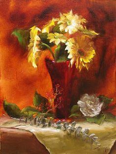 Yellow Gerbera Daisies by Lori Twiggs