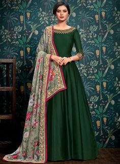 Buy Dark Green Embroidered Abaya Style Anarkali Suit online, SKU Code: This Green color Party anarkali suit for Women comes with Embroidered Faux Georgette. Source by dresses indian Designer Anarkali Dresses, Designer Party Wear Dresses, Kurti Designs Party Wear, Indian Designer Outfits, Indian Gowns Dresses, Shadi Dresses, Pakistani Dresses, Pakistani Clothing, Flapper Dresses