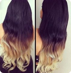 Easy and Best 10 Dip-dye Ombre Color Hair Ideas without Bleach at Home long wavy black to blonde dip dye with ombre hair extension clip in