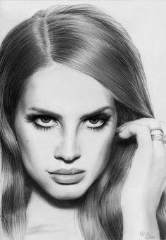 Lana Del Rey pencil portrait by Melissamalone.deviantart.com