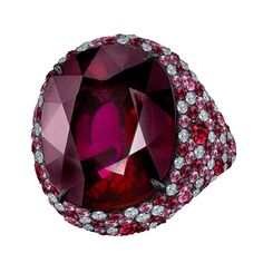 Robert Procop Oval-Shaped Rubellite Cocktail Ring Pave style. Size variance and color range