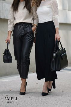 We love these classy black-and-white looks, accompanied with our CENTRAL and VIADUKT in black. Did you know that our handbags can be worn many different ways? Discover them now on our website! Zurich, Business Outfits, Fall Wardrobe, Leather Handbags, Classy, Black And White, Chic, How To Wear, Collection