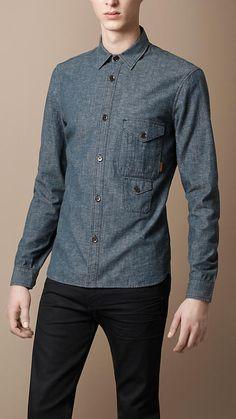 Burberry - TWEED DENIM SHIRT Button Down Collar Shirts, Jean Shirts, Denim  Shirt, 2bf70b1d0b2d
