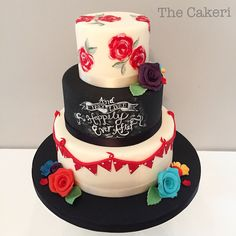 Vintage chalkboard rainbow wedding cake. #vintage #vintagewedding #chalkboardcake #paintedcake #thecakeri