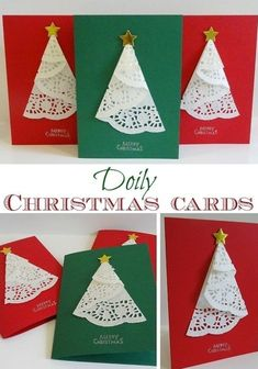 Simple Christmas Cards, Beautiful Christmas Cards, Homemade Christmas Cards, Christmas Tree Cards, Christmas Crafts For Kids, Christmas Projects, Homemade Cards, Handmade Christmas, Holiday Crafts