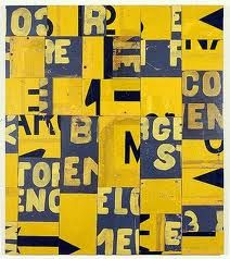 Rosalie Gascoigne, Ensign, (retro-reflective road sign on craft board. Collages, Mixed Media Collage, Collage Art, Word Collage, Photomontage, Paul Klee Art, Found Object Art, Art Graphique, Australian Artists