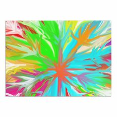 KESS InHouse Dan Sekanwagi 'Tropical Paradise' Rainbow Abstract Dog Place Mat, 13' x 18' * Don't get left behind, see this great dog product : Dog food container