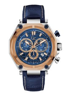 0142eec5cf61 Guess Collection Men s Sport Blue Leather Band Steel Case Quartz Analog  Watch .