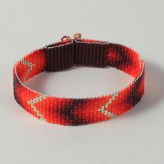 Southwestern Red Chevron Bead Loom Bracelet by PuebloAndCo on Etsy, $13.99