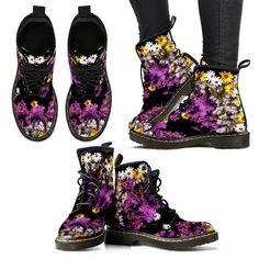 Full Eco Leather double sided print with rounded toe construction. Lace-up closure for a snug fit. Soft textile lining with sturdy construction for maximum comf Leather Men, Leather Boots, Adventure Boots, Music Shoes, Plastic Boots, Vegan Boots, Orange Shoes, Flower Skull, Comfortable Boots