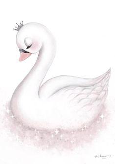 Engel - Version 1 - Tutu Irresistible Boutique - Betty's - Animal Drawings, Cute Drawings, Baby Swan, Motif Art Deco, Beautiful Swan, Baby Art, Nursery Prints, Wall Prints, Cute Illustration