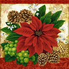 Poinsettia And Pinecones By Elena Vladykina Ruth Levison Design Poinsettia Cards, Christmas Poinsettia, Christmas Tag, All Things Christmas, Christmas Crafts, Christmas Decorations, Christmas Graphics, Christmas Clipart, Vintage Christmas Cards