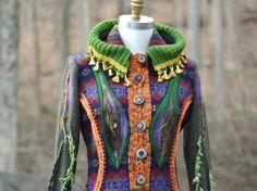 Custom sweater Coat for Diane. Woodland style bespoke clothing with elf hood
