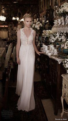 naama anat fall 2016 bridal dresses beautiful sheath wedding dress v neck lace straps embroideried bodice style precious