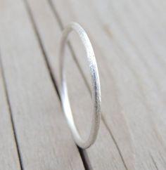 Sterling Silver Ring, Brushed Finish, Stardust Ring, Silver Stacking Ring, Stackable Silver Ring, Unique Wedding Band, Bridal shower gift