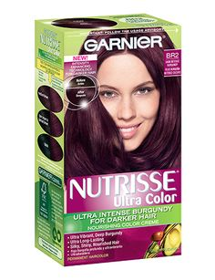 A conditioning permanent hair color for dark hair without bleach. Get visible red hair tones with Nutrisse Ultra Color in dark intense burgundy by Garnier. Deep Burgundy Hair Color, Burgendy Hair, Deep Purple, Garnier Hair Color, Hair Meaning, Hair Color Formulas, Hair Dye Colors, Permanent Hair Color, Fragrance Parfum