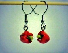 Ohrringe - Ohrringe Paprika rot Ohrschmuck Schmuck Damen Fimo - ein Designerstück von ausgefallene-Ohrringe bei DaWanda