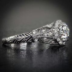 1 26ct F VS1 EGL USA Cert Round Diamond Vintage Engagement Ring Art Deco Nouveau | eBay