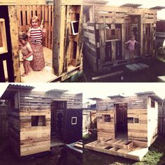 Play house made from recycled pallets and roofing iron/plastic.