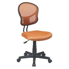 The easy-to-assemble mesh task chair makes a great addition to your home office. The seat cushion is filled with foam for comfort. It has a contoured back, which offers excellent support. Its swivel mechanism and dual-wheel casters let you move around your work area easily without having to get up from your seat. Armless design means you can slide it under your desk when it's not in use. It has 1-touch pneumatic height adjustment. This swivel task chair has a maximum weight capacity o...