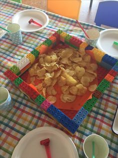 Lego party ideas. Serving dishes for kids Lego birthday party. Made using duplo