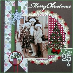 Merry Christmas Layout for Scrapbook Christmas Scrapbook Layouts, Scrapbook Paper Crafts, Christmas Layout, Scrapbooking Ideas, Scrapbook Sketches, Scrapbook Page Layouts, Photo Layouts, Baby Scrapbook, Scrapbook Cards