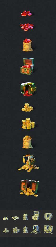 3D图标设计UI-金币和宝石