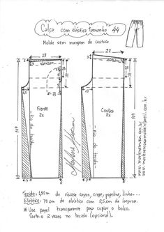 Calça com elástico fácil | DIY - molde, corte e costura - Marlene Mukai Linen Dresses, Sewing Tutorials, Sewing Patterns, Jumpsuits, Good Ideas, Modeling, Fashion Skirts, Design Patterns, Pattern Cutting