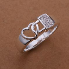 locked heart of love R342-S# 2014 Fashion Sale Silver Plated Brass Jewelery Aneis Silver Rings for Women Rings for Men the Ring