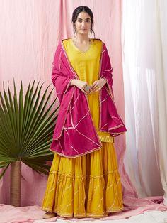 Yellow Gota Embroidered Cotton Mulmul Kurta with Gharara and Pink Dupatta - Set of 3 Sharara Designs, Silk Kurti Designs, Choli Designs, Dress Indian Style, Indian Dresses, Indian Outfits, Ethnic Outfits, Yellow Kurti, Yellow Dress