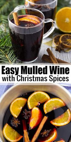 This German mulled wine is the perfect Christmas drink! It's prepared from red w. This German mulled wine is the perfect Christmas drink! It's prepared from red wine that is heated and flavored with Christmas spices. It's ready in just 10 minutes! Mulled Wine Spices, Spiced Wine, Mulling Spices, What Is Mulled Wine, Mulled Wine Recipe Crockpot, Wassail Recipe, Homemade Mulled Wine, German Mulled Wine Recipe, Recipes