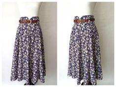 Vintage Skirt | 80s Skirt | Floral Print Skirt | Vintage Floral Skirt