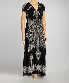 Look what I found on #zulily! Black Shirred Scarf Print Maxi Dress - Plus by  #zulilyfinds