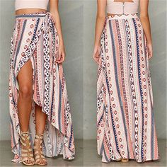 BOHO Hippy Gypsy Donna Estivo Floreale Gonna Lunga Vestito Da Spiaggia