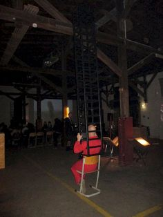 interactive ongoing performance Patrick Jambon, during lectures and exhibition. im@ioana alexe