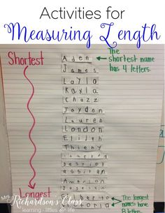 Measuring Length Measuring Length activities that are PERFECT for little learners! My students loved this name activity, too! Measuring Length Measuring Length activities that are PERFECT for little learners! My students loved this name activity, too! Measurement Kindergarten, Kindergarten Anchor Charts, Kindergarten Lessons, Preschool Math, Math Classroom, Math Lessons, Teaching Math, Maths Eyfs, Classroom Birthday