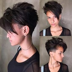 The undercut hairstyle is back for The look is everywhere right now, and we can see why. We've collected the best undercut designs for badass women. Undercut Hairstyles Women, Short Hair Undercut, Undercut Women, Short Undercut Hairstyles, Punk Pixie Haircut, Fashion Hairstyles, Shaved Hairstyles, Men's Hairstyle, Pixie Haircuts