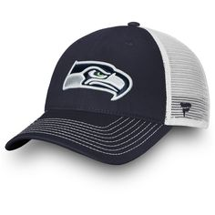 53dd37c13c4 Youth Seattle Seahawks NFL Pro Line by Fanatics Branded College Navy White  Core Trucker Adjustable Snapback Hat