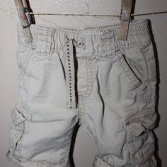 Roll cuff cargo pants, 0-3 months