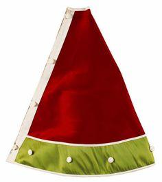 "54"" Red Lime Green Ivory Christmas Tree Skirt"