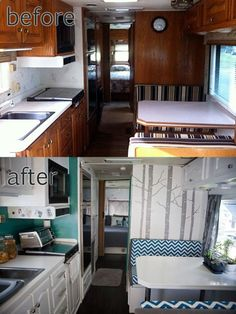Before After Updated Travel Trailer. I love the tree wallpaper